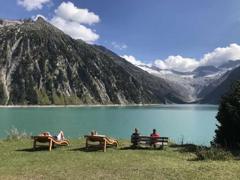 Stausee Zillertal - für mich der Schönste: Der Schlegeisspeicher mit dem Gletscherblick