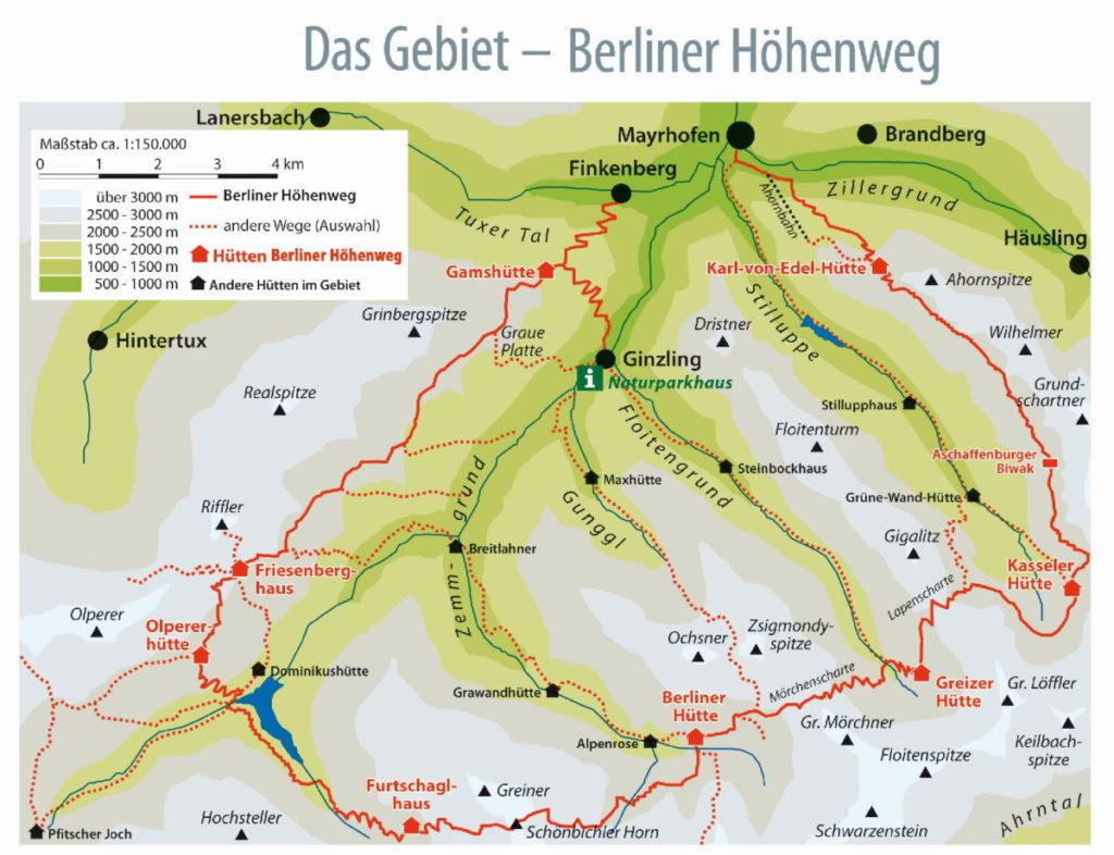 Berliner Höhenweg Karte, © DAV (Zillertaler Arbeitskreis)